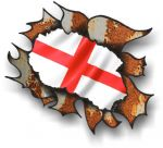 Ripped Torn Metal Rusty Design With England English Flag Motif External Vinyl Car Sticker 105x130mm